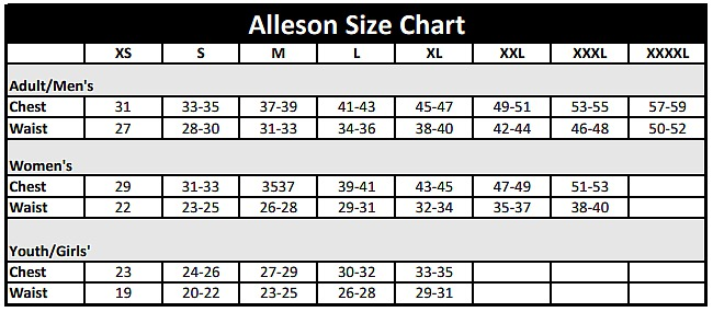Alleson Athletic Size Charts